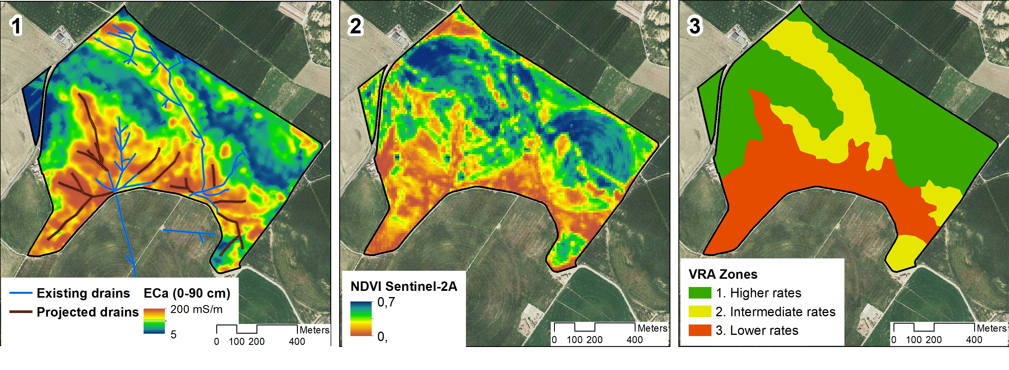 1: ECa map and existing drainage network. 2: NDVI map from Sentinel-2 shows the stage of development of fields in the middle of the previous season's crop. 3: Variable-Rate-Application zones derived from 1 and 2 for variable seeding and fertilizing of the