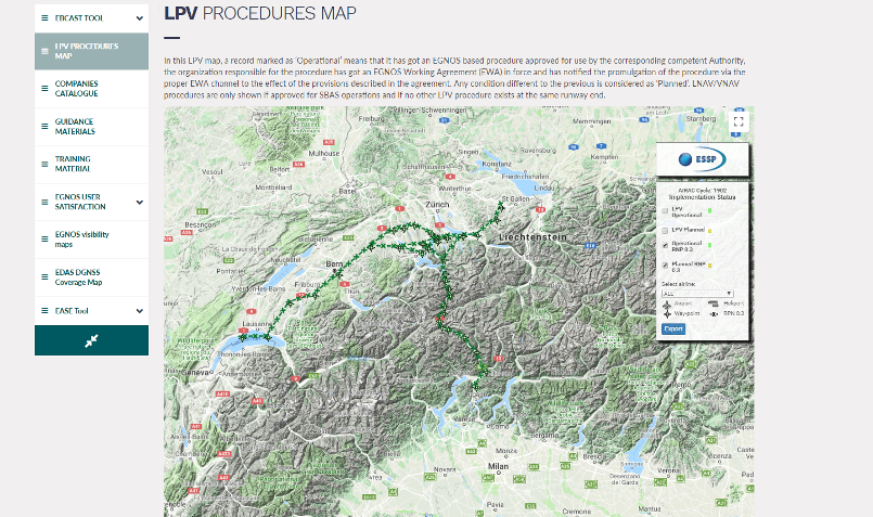 RNP 0.3 routes published on the LPV map