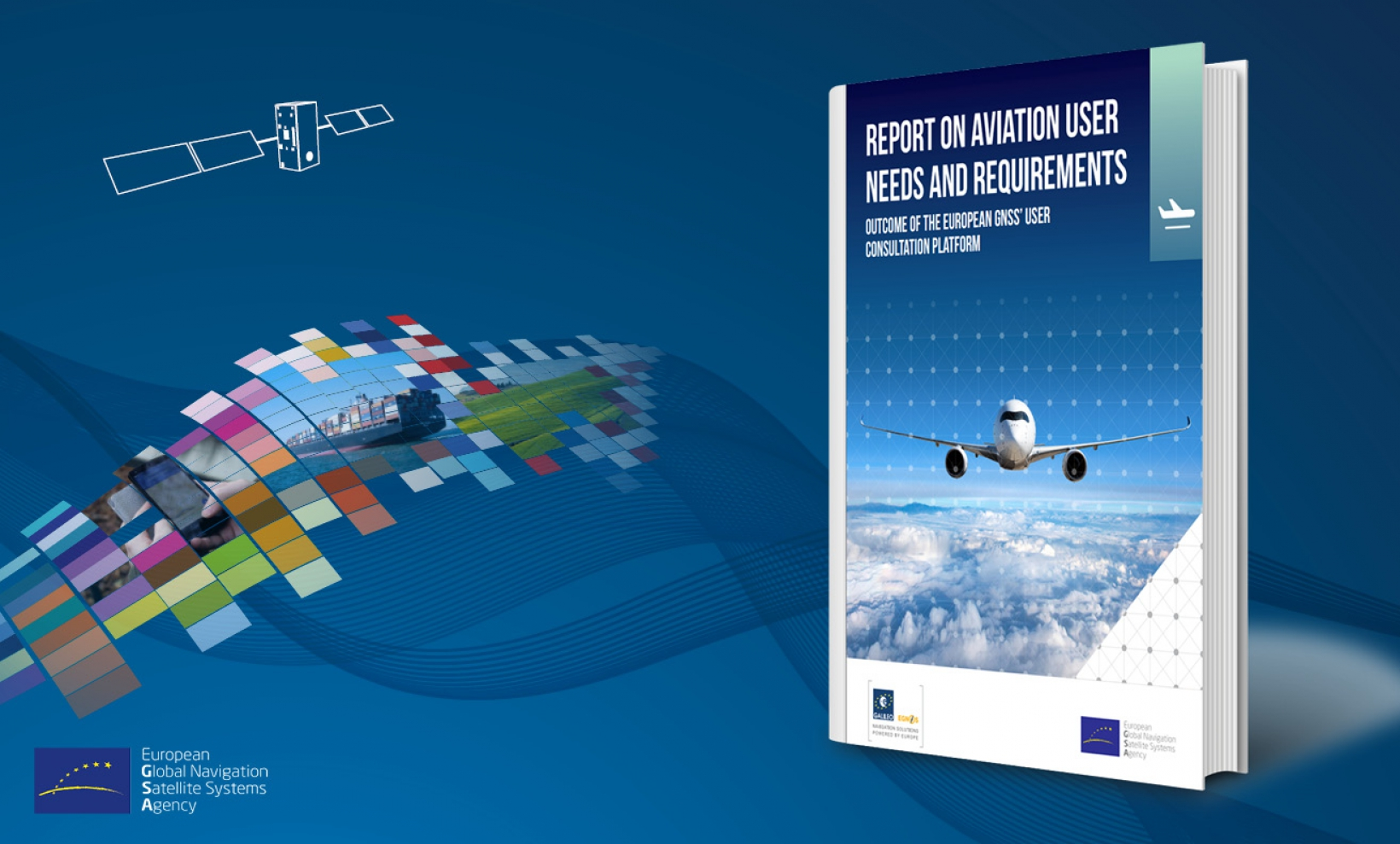 Report on aviation users image and European Space week logo
