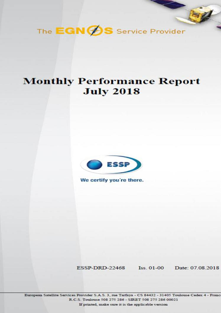 EGNOS Performance report July 2018