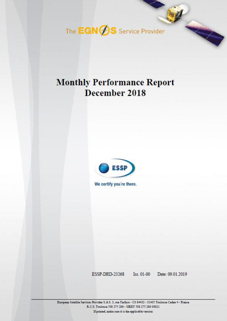 EGNOS Monthly Performance Report December 2018