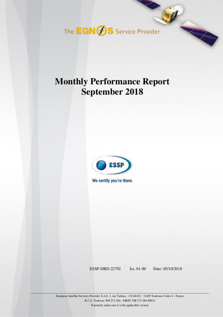 Monthly performance report September 2018