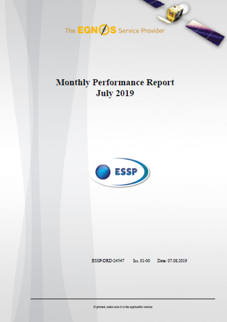 Monthly Performance Report July 2019 cover