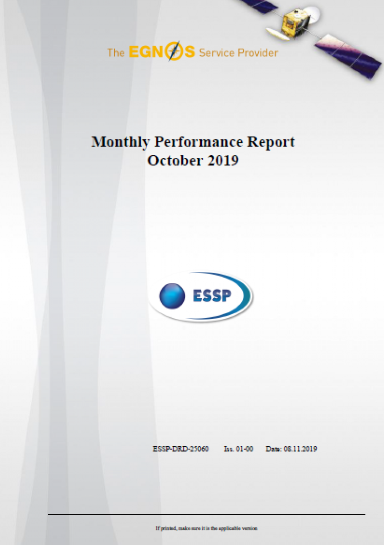 Monthly Performance Report October 2019 cover