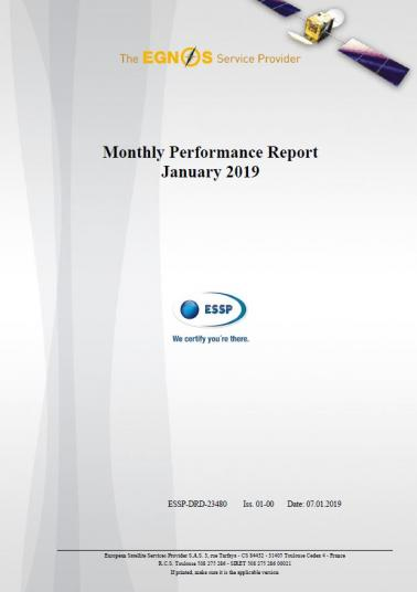 EGNOS Monthly Performance Report January 2019