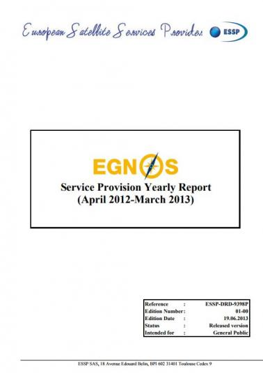 egnos service provision yearly report 2012 2013 egnos user support