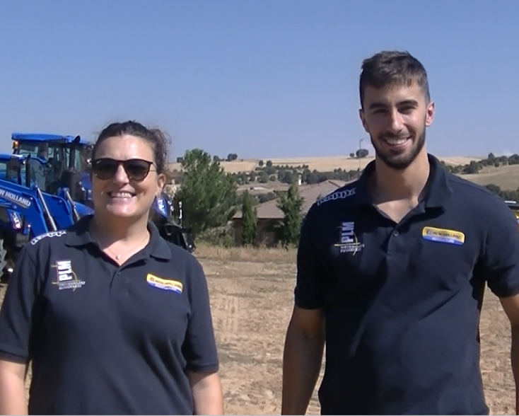 Isabel González and Alfonso Majadas from New Holland's Ibérica in the training centre of Segovia (Spain)